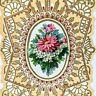 Antique Embossed Valentine's Day CARD Gold Lace Gilt Ornate Poem w/ Flower Added