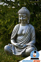 50cm großer Thai Buddha Budda silber Figur Statue Feng Shui sitzend Deko Garten