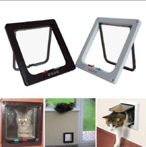 Puerta Abatible Para Mascotas Gato Cachorro Perro Magnética Con Cerradura Segura