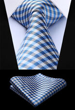 "Men Tie Blue Check 3.4"" Silk NeckTie Party Wedding Handkerchief Set#TC611B8S"