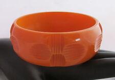 VTG Bakelite Bangle Bracelet Deep Carved Clover Four Leaf Orange Butterscotch