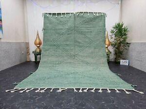 """Moroccan Handmade Kilim Zanafi Rug 6'6""""x10'3"""" Berber Geometric Green White Rug"""