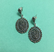 Sparkly Sterling Silver & Marcasite Oval Earrings - for Wedding or Night Out