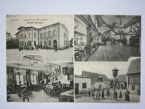 Rar.AK.Wiesa.Gasthof zur Eisenbahn.Inh.Robert Hempel.Kl.Ort.gel.1914 (511)