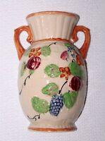 1920-50's Beautiful Handprinted Cream Vase W/ Grapes & Flowers Wall Pocket Japan