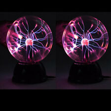 2 X New Magic USB Glass Plasma Ball Sphere Lightning Light Lamp Party Black Base