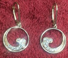 Parle Blue Topaz Wave Earrings Sterling .925 Retail 285.00