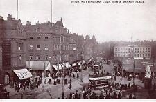 Nottinghamshire - Nottingham, Long Row & Market Place - Vintage Postcard