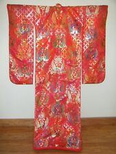 Unique Signed Silk Japanese Uchikake Bridal Kimono w/ Geometrics & Floral
