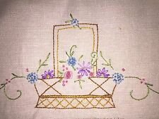 "Vintage Embroidered Linen Basket Flowers Towel 16"" x 26"""