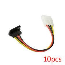"10pcs 8"" Inch (20cm) 4-pin Molex to 15-pin Right Angle SATA Power Cable Adapter"
