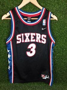 Philadelphia 76ers Maillot de basket-ball pour homme 3 Allen Iverson Brod/é Retro Jerseys /Ét/é Ext/érieur Unisexe Sans Manches Mesh Respirant Basketball Swingman Gilet S-2XL