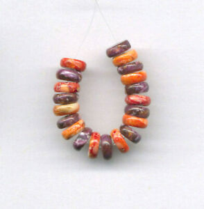 TWENTY (20) PURPLE, ORANGE SPINY OYSTER 6MM  BEADS - 8442
