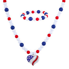 Themed Pearl Strands Heart Necklace Lux Accessories Multicolored July 4th
