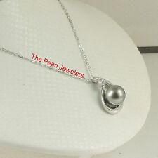 Solid 925 Silver Raindrop Cubic Zirconia Grey Tahitian Pearl Unique Pendant TPJ