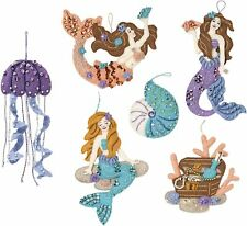 "Bucilla 'Sea Princess"" Felt Christmas Ornaments Kit Mermaid Tropical Beach~6 New"