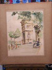 Aquarelle Arc de triomphe Paris André Simon 1926-2014 Artiste Lorrain 1952