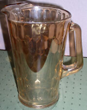Jeannette Glass Marigold Iridescent HEX OPTIC Pattern 64oz Beverage Pitcher