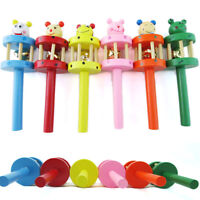 Wooden Handbell Cartoon Animal Jingle Toy Musical Instrument For Baby Kids T~9K