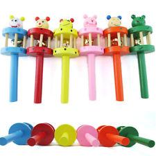 Wooden Handbell Cartoon Animal Jingle Toy Musical Instrument For Baby Kids RU