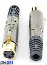XLR 3-Pin Female Microphone Connector, Gold Plated Pins