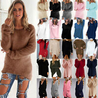 Women Loose Sweater Jumper Ladies Casual Mini Dress Pullover Ribbed Tops Blouse