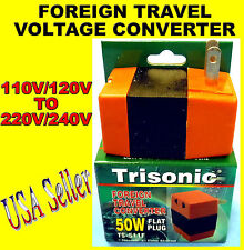 NEW 50W STEP-UP FOREIGN TRAVEL VOLTAGE CONVERTER 110V TO 220V FLAT PIN PLUG