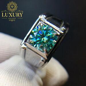 VVS1 Green Moissanite 1Ct Diamond Cut Platinum Plated Wedding Engagement Rings