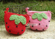 Cute Handmade Crochet Doll Amigurumi Coin Purse Pick 1 Red or Pink Strawberry