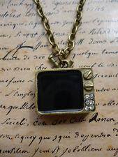 Vintage Bronze Quirky Kitsch TV T.V Television Costume Jewellery Necklace