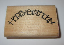 """Happy Birthday Rubber Stamp Arch D.O.T.S. 2.75"""" Long Wood Mounted"""