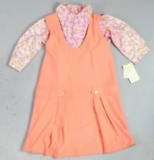 Vtg 1960s Girl's Two Pieces Dress Set Tulip Blouse Neon Orange Dress LS Size 14