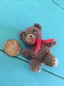 "Handmade Crochet Knitted Yarn Tiny mini 2"" Teddy Bear stuffed animal"