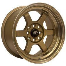 MST Wheels Time Attack Rims 15x8 4x100/114.3 +0 Offset Stepped Lip Satin Bronze