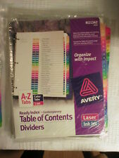 "#'s 1-10 Colored 1""-TABBED DIVISION SHEETS RING BINDER LOOSE LEAF 11"" x 8-1/2"""
