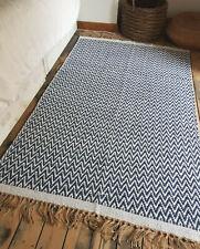 Midnight blue handmade cotton jute reversible rug washable herringbone rugs