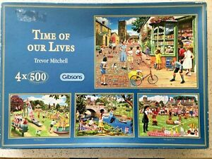 """Gibsons 4 x 500 pc puzzles- """"Time Of Our Lives"""" by Trevor Mitchell"""