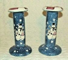"""Papel Christmas Snowmen 4"""" Tapered Candlestick Holder Set of 2 Blue Snowflakes"""