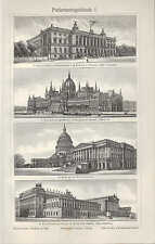 Lithografie 1906: Parlamentsgebäude. BERLIN BUDAPEST WASHINGTON WIEN