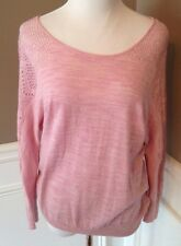 Knitted & Knotted Size M Pale Pink Wool Scoop Neck Long Sleeve Sweater