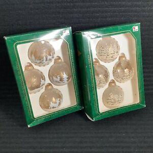 8 Christmas By Krebs Designer Glass With Crowns Ornaments Deer Glitter Fir Trees