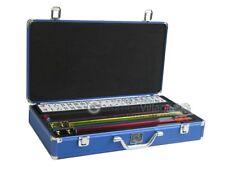 Mah Jongg Set - White/Blue Tiles, Classic Pushers, Blue Aluminum Mahjong