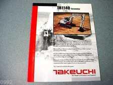 Takeuchi TB1140 Excavator Brochure