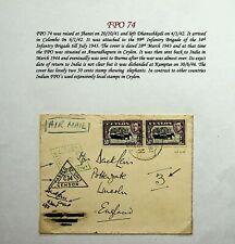 CEYLON 1941 RARE FPO 74 2V ELEPHANTS ON TWICE CENSORED SIGNED COVER TO UK