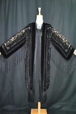 Classic Black Burnout Velvet Fringe Hippie Gypsy Coat Kimono Jacket Duster Maya