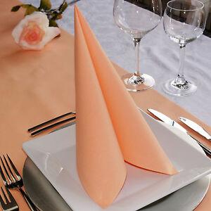 50 Airlaid Servietten Apricot PfirsichStoffoptik Stoffähnlich Hochzeit 40x40 cm