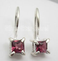 "SQUARE GARNET Facetted Gemstone New Earrings 1/4"" 925 Solid Silver Jewellery"