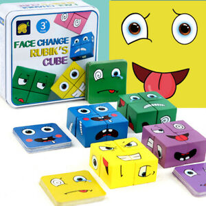Magic Face Changing Wooden Expression Puzzles Building Block Cube Montessori Toy