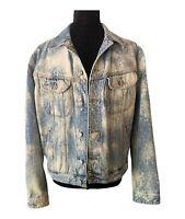 United Colors of Benetton Denim Jacket Acid Washed Jean Jacket Men's Medium