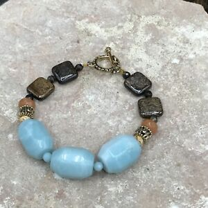Barse First Frost Toggle Bracelet- Mixed Stones- Bronze- New With Tags